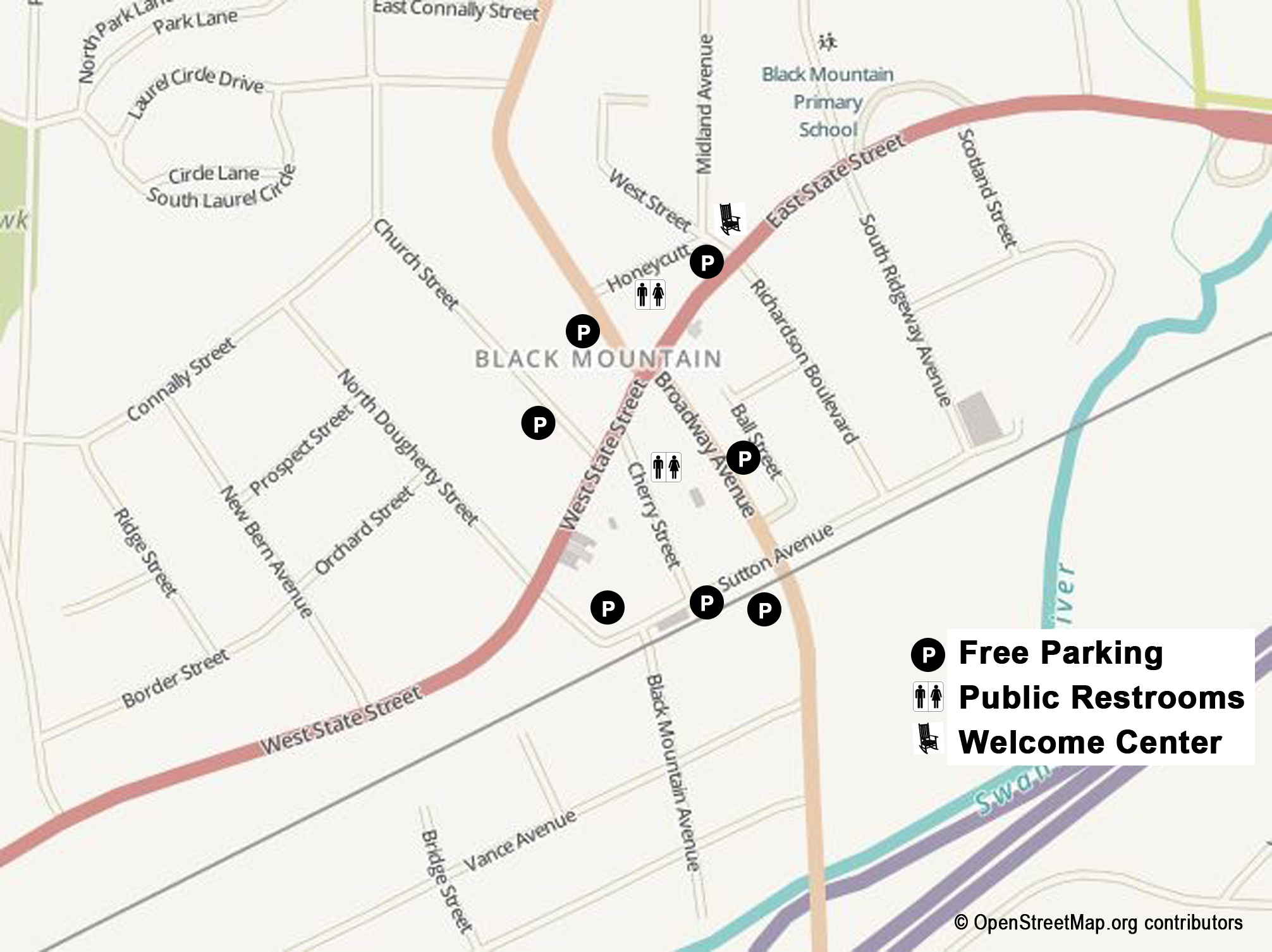 Black Mountain Downtown Parking Map